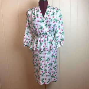 Vintage 80s/90s White Blousy Peplum V Neck Dress